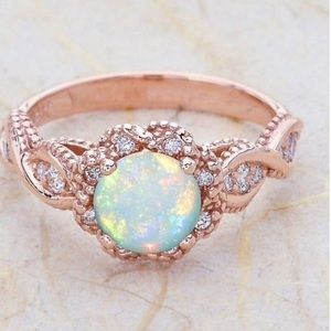 Jewelry - Rose Gold Plated Fire Opal Ring